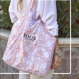 Tous Logo Satin Canvas Handbag